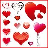 Sistema de corazones decorativos Imágenes de archivo libres de regalías