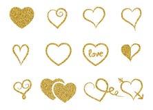 Sistema de corazones decorativos de la textura del brillo del oro en el fondo blanco Imagen de archivo