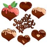Sistema de corazones del chocolate en el chocolate blanco y oscuro Imágenes de archivo libres de regalías