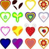Sistema de corazones del vector Fotografía de archivo