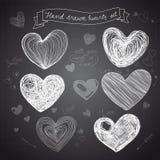 Sistema de corazones dibujados mano del vector Imagen de archivo