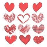 Sistema de corazones en el fondo blanco. Imagen de archivo