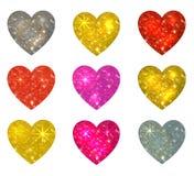 Sistema de corazones que brillan aislados en blanco Ilustración del vector Fotografía de archivo