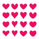 Sistema de corazones rojos del vector Estilo plano Fotografía de archivo