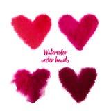 Sistema de corazones rosados de la acuarela del vector Fotos de archivo