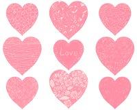 Sistema de corazones rosados del vector Imagen de archivo
