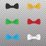 Sistema de corbatas de lazo realistas coloridas stock de ilustración