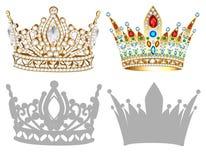 Sistema de corona, de tiara, de diadema y de siluetas de oro Imagen de archivo