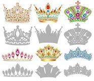 Sistema de corona, de tiara, de diadema y de siluetas de oro Imágenes de archivo libres de regalías