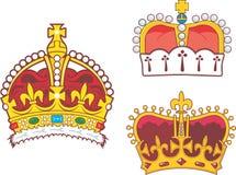 Sistema de coronas reales y del príncipe heráldicas Fotografía de archivo