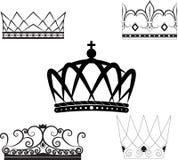 Sistema de coronas y de tiaras Foto de archivo libre de regalías