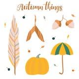 Sistema de cosas del otoño Imágenes de archivo libres de regalías