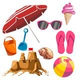 Sistema de cosas del verano Imagenes de archivo
