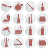 Sistema de cosméticos de los iconos en estilo plano Imagen de archivo