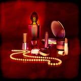 Sistema de cosméticos y de accesorios para las mujeres Imagen de archivo