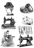 Sistema de costura del clip art del vintage stock de ilustración