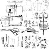 Sistema de costura dibujado mano del bosquejo Ilustración del Vector