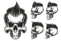 Sistema de cráneos con el pelo Foto de archivo