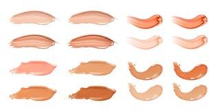 Sistema de crema líquida cosmética de la fundación o del caramelo en diversos movimientos de la mancha de la mancha del color Com ilustración del vector