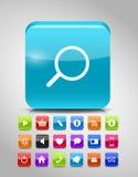Sistema de cristal del icono del botón. Ejemplo del vector Imagen de archivo