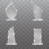 Sistema de cristal del vector del premio del trofeo Imágenes de archivo libres de regalías