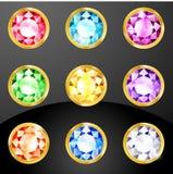 Sistema de cristales coloreados ilustración del vector