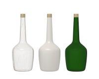 Sistema de 3 cristales de botellas aislados en el fondo blanco con el recortes Fotografía de archivo libre de regalías