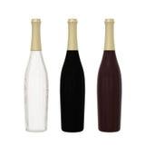 Sistema de 3 cristales de botellas largos aislados en el fondo blanco con el cli Fotos de archivo libres de regalías