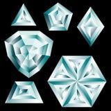 Sistema de cristales del diamante ilustración del vector