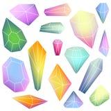 Sistema de cristales minerales stock de ilustración