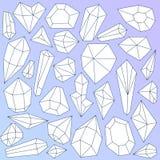 Sistema de cristales minerales lineares en azul de la pendiente ilustración del vector