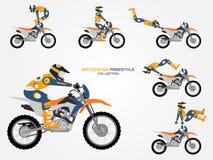 Sistema de Crossbike Diversos trucos del crossbike, estilo plano fotografía de archivo libre de regalías