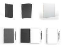 Sistema de cuadernos aislados en el fondo blanco Imagenes de archivo