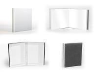 Sistema de cuadernos aislados en el fondo blanco Fotografía de archivo