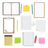 Sistema de cuadernos, de diarios y de hojas de papel del vector Imagenes de archivo