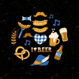 Sistema de cualidades tradicionales dibujadas mano del fest de la cerveza en fondo del grunge Impresión de la cerveza del arte ilustración del vector