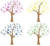 Sistema de cuatro árboles abstractos Imágenes de archivo libres de regalías