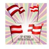 Sistema de cuatro banderas de Austira el día nacional el 26 de octubre foto de archivo libre de regalías