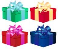 Sistema de cuatro cajas de regalo coloridas del vector aisladas encendido Fotos de archivo
