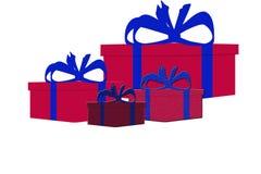 Sistema de cuatro diversas actuales cajas de regalo aisladas coloridas Fotos de archivo libres de regalías