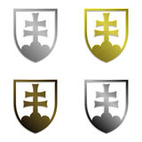 Sistema de cuatro emblemas eslovacos metálicos simplemente aislados Fotografía de archivo