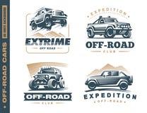 Sistema de cuatro etiquetas campo a través del monocromo del coche del suv libre illustration
