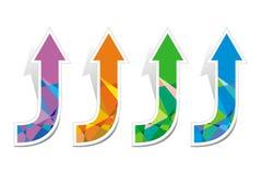 Sistema de cuatro flechas coloreadas Imagen de archivo libre de regalías