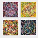 Sistema de cuatro fondos abstractos hermosos con la mudanza de líneas coloridas Fotos de archivo libres de regalías
