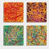 Sistema de cuatro fondos abstractos hermosos con la mudanza de líneas coloridas Fotografía de archivo libre de regalías