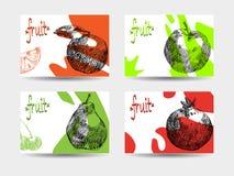 Sistema de cuatro fondos coloridos con las frutas stock de ilustración