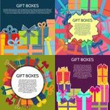 Sistema de cuatro fondos con las cajas de un regalo coloridas Imagen de archivo libre de regalías
