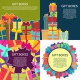 Sistema de cuatro fondos con las cajas de un regalo coloridas Imagen de archivo