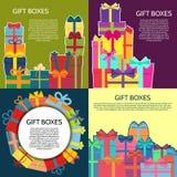 Sistema de cuatro fondos con las cajas de un regalo coloridas Fotos de archivo