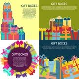Sistema de cuatro fondos con las cajas de un regalo coloridas Fotografía de archivo